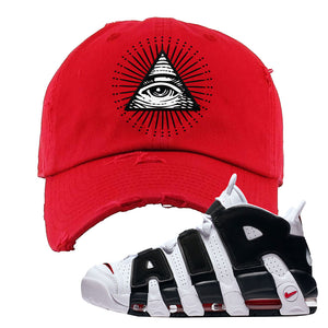 Air More Uptempo White Black Red Distressed Dad Hat | Red, All Seeing Eye