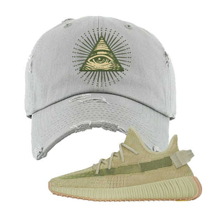 Yeezy 350 v2 Sulfur Distressed Dad Hat | Light Gray, All Seeing Eye