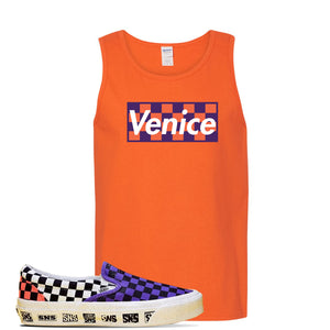 Vans Slip On Venice Beach Pack Tank Top | Orange, Checkerboard Box
