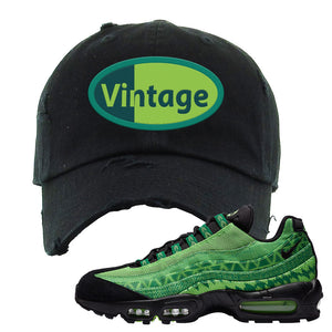 Air Max 95 Naija Distressed Dad Hat | Vintage Oval, Black