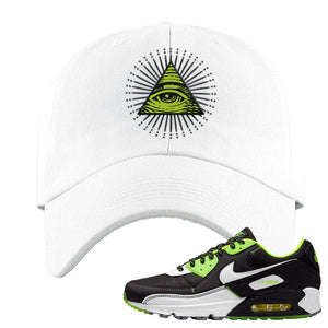 Air Max 90 Exeter Edition Black Dad Hat | All Seeing Eye, White