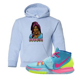 Kyrie 6 Pool Kids Pullover Hoodie | Oh My Goodness, Light Blue