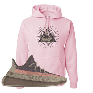 Yeezy 350 v2 Ash Stone Hoodie | All Seeing Eye, Light Pink