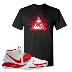 Kyrie 6 White University Red T Shirt | All Seeing Eye, Black