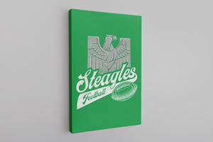 Steagles Retro Canvas | Phil-Pitt Steagles Kelly Green Wall Canvas the front of this canvas has the steagles design