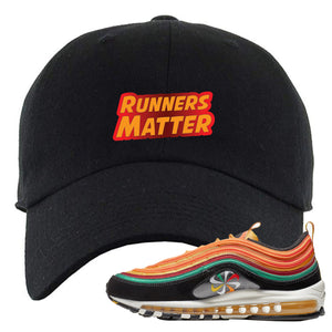 Embroidered on the front of the Air Max 97 Sunburst sneaker matching black dad hat is the runner matter logo