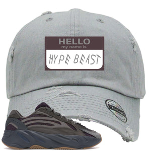 Yeezy Boost 700 Geode Sneaker Hook Up Hello My Name Is Hype Beast Woe Light Gray Distressed Dad Hat