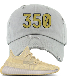 Yeezy Boost 350 V2 Flax Sneaker Light Gray Distressed Dad Hat | Hat to match Adidas Yeezy Boost 350 V2 Flax Shoes | 350