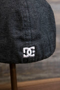 the Dark Gray Bentbrim Skater Hat | DC Shoes Black Bottom Heather Gray Flexfit Cap has a tiny DC logo on the back