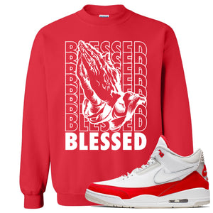 This red and white sweater will match great with your Jordan 3 Tinker Air Max shoes