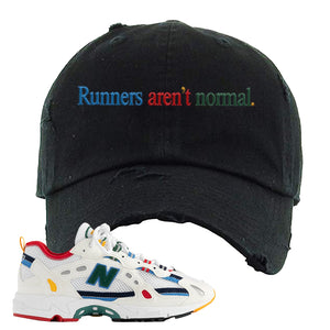 Aime Leon Dore X New Balance 827 Abzorb Multicolor 'White' Distressed Dad Hat | Black, Runners Aren't Normal