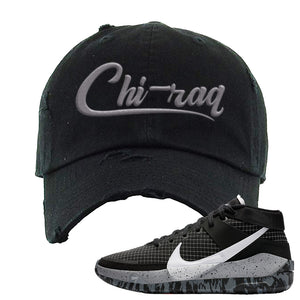 KD 13 Oreo Distressed Dad Hat | Chiraq, Black