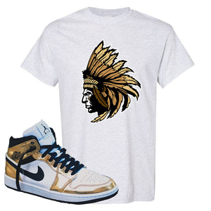 Air Jordan 1 Mid SE Metallic Gold T Shirt | Indian Chief, Ash
