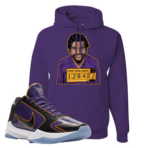 Kobe 5 Protro 5x Champ Hoodie | Escobar Illustration, Deep Purple