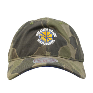 embroidered on the golden state warriors camouflage dad hat is the golden state warriors logo in yellow, blue, and white