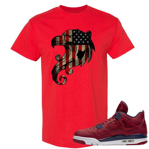 Jordan 4 FIBA Stars and Stripes Eagle Red Sneaker Matching Tee Shirt