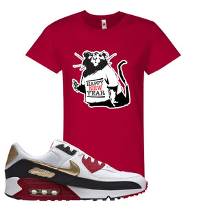 Air Max 90 Chinese New Year Women's T Shirt | Deep Red, Happy New Year Rat