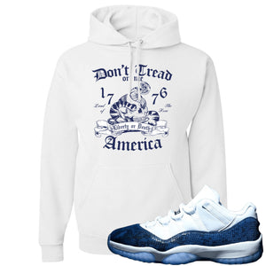Jordan 11 Low Blue Snakeskin Don't Tread On Me Snake White Hoodie