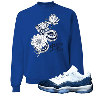 Jordan 11 Low Blue Snakeskin Snake With Lotus Flowers Royal Blue Crewneck Sweater