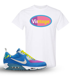 Undefeated x Air Max 90 Pacific Blue Sneaker White T Shirt | Shirt to match Undefeated x Nike Air Max 90 Pacific Blue Shoes | Vintage Oval