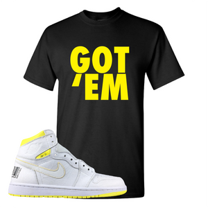 Jordan 1 First Class Flight Got Em Sneaker Matching Black T-Shirt