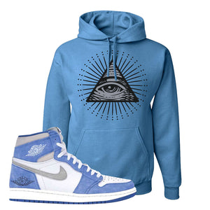 Air Jordan 1 High Hyper Royal Pullover Hoodie | All Seeing Eye, Columbia Blue