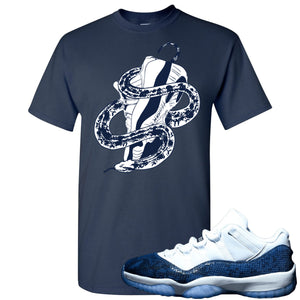 Jordan 11 Low Blue Snakeskin Snake Around Shoes Navy Blue T-Shirt