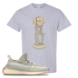 Yeezy Boost 350 V2 Citrin Non-Reflective The World Is Yours Statue Sport Grey Sneaker Matching Tee Shirt