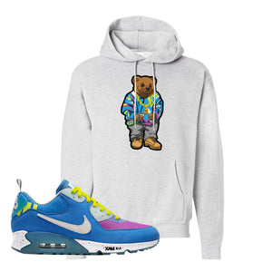Undefeated x Air Max 90 Pacific Blue Sneaker Ash Pullover Hoodie | Hoodie to match Undefeated x Nike Air Max 90 Pacific Blue Shoes | Sweater Bear