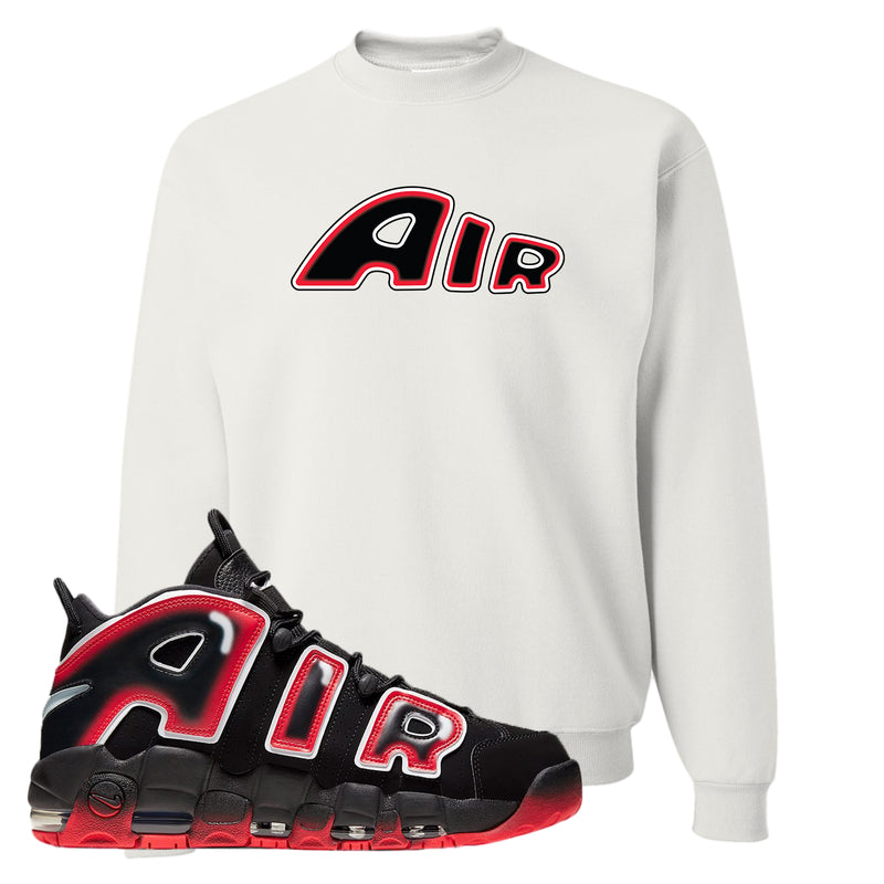 Air More Uptempo Laser Crimson Crewneck Sweatshirt | White, Air From The Sneaker