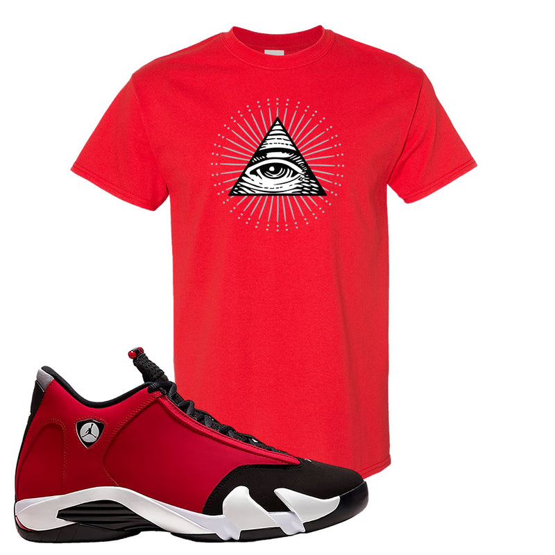 Air Jordan 14 Gym Red T Shirt | Red, All Seeing Eye