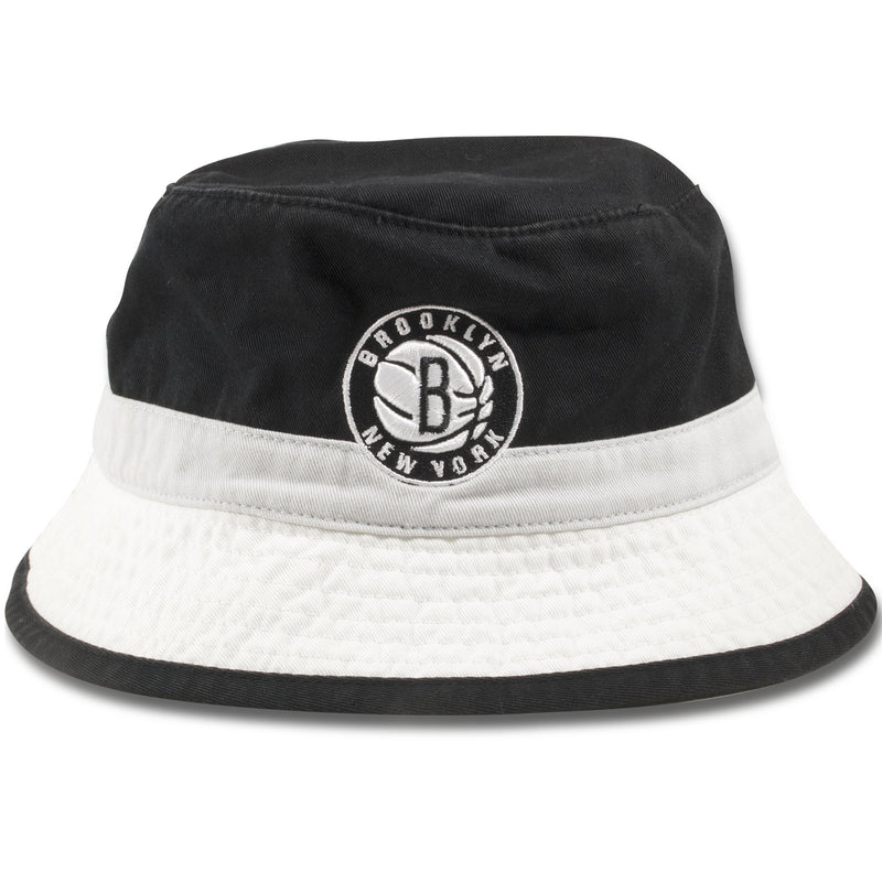 Brooklyn Nets Mitchell and Ness Striped Retro Bucket Hat