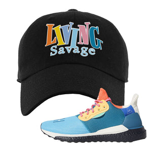 Foot Clan  Pharrel Williams X SolarHU Multicolor  Living Savage  Black  Dad Hat    Match your shoes with this Pharrel Williams X SolarHU Multicolor Sneaker Black Dad Hat. The Living Savage logo on the front of this Pharrel Williams X SolarHU Multicolor Sneaker Black Dad Hat is perfect to match these kicks. Up your match-game now!
