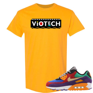 Printed on the front of the gold Air Max 97 Viotech sneaker matching t-shirt is the Viotech Martin logo