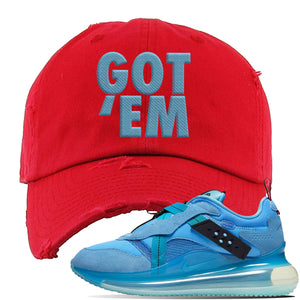 Air Max 720 OBJ Slip Light Blue Distressed Dad Hat | Red, Got Em