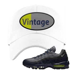 Air Max 95 Midnight Navy / Volt Dad Hat | White, Vintage Oval