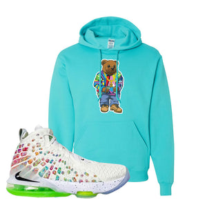 Lebron 17 Air Command Force Hoodie | Scuba Blue, Sweater Bear