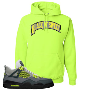 Jordan 4 Neon Hoodie | Safety Green, Black N Sweet Arch