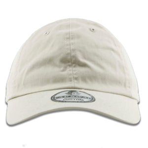 The ivory blank baseball cap has a soft unstructured crown and a bent brim
