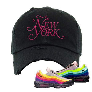 Airmax 95 '20 For 20' Sneaker Black Distressed Dad Hat | Hat to match Nike Airmax 95 '20 For 20' Shoes | Ã'ew York