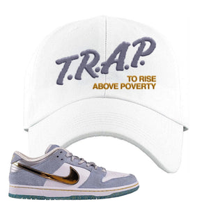 Sean Cliver x SB Dunk Low Dad Hat | Trap To Rise Above Poverty, White