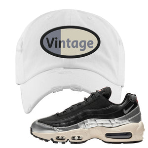 3M x Nike Air Max 95 Silver and Black Distressed Dad Hat | Vintage Oval, White