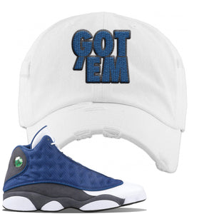 Jordan 13 Flint 2020 Sneaker White Distressed Dad Hat | Hat to match Nike Air Jordan 13 Flint 2020 Shoes | Got Em