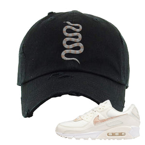Air Max 90 Beige Snakeskin Distressed Dad Hat | Coiled Snake, Black