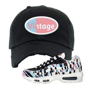 Air Max 95 Korea Tiger Stripe Distressed Dad Hat | Black, Vintage Oval