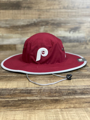 On the front of the Retro Philadelphia Phillies Adventure Panama Bucket Hat is a 1970s Phillies P logo and adjustable drawstring