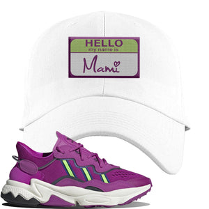 Ozweego Vivid Pink Sneaker White Dad Hat | Hat to match Adidas Ozweego Vivid Pink Shoes | Hello my Name is Mami