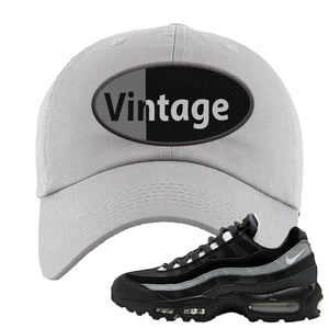 Air Max 95 Essential Black And Dark Smoke Grey Dad Hat | Vintage Oval, Light Gray