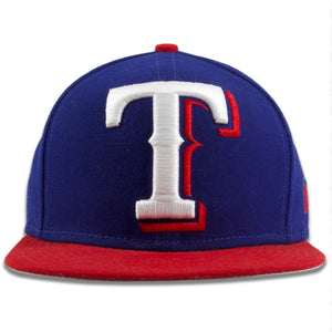 Texas Rangers Blue on Red XL Logo 9Fifty Snapback Hat