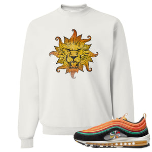 Printed on the front of the Air Max 97 Sunburst white sneaker matching crewneck sweatshirt is the vintage lion head logo